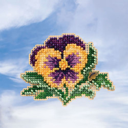 Tricolour Pansy cross stitch/beading kit